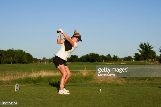 Nicole Broch Larsen of Denmark plays a tee shot at the first hole during the second round of the 2018 Volunteers of America LPGA Texas Classic at Old...