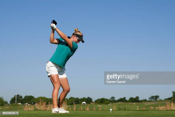 Nicole Broch Larsen of Denmark plays a tee shot at the ninth hole during the continuation of the second round of the 2018 Volunteers of America LPGA...