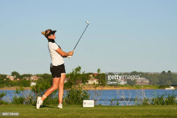Nicole Broch Larsen of Denmark plays a tee shot at the second hole during the second round of the 2018 Volunteers of America LPGA Texas Classic at...