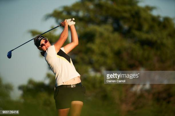 Nicole Broch Larsen of Denmark plays a tee shot at the third hole during the second round of the 2018 Volunteers of America LPGA Texas Classic at Old...