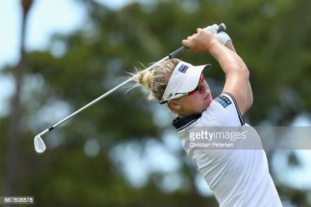 Nicole Broch Larsen of Denmark plays a tee shot on the eighth hole during the first round of the LPGA LOTTE Championship Presented By Hershey at Ko...