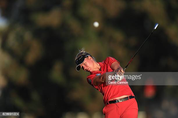 Nicole Broch Larsen of Denmark plays her second shot on the 10th hole during the delayed second round of the 2016 Omega Dubai Ladies Masters on the...