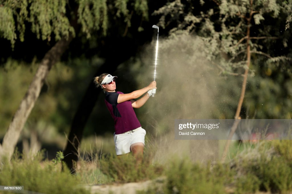 Nicole Broch Larsen of Denmark plays her second shot on the par 4, 14th hole during the second round of the 2017 Dubai Ladies Classic on the Majlis Course at The Emirates Golf Club, on December 7, 2017 in Dubai, United Arab Emirates.