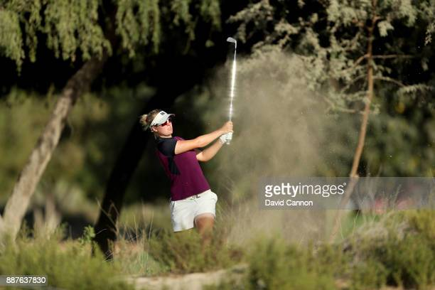 Nicole Broch Larsen of Denmark plays her second shot on the par 4 14th hole during the second round of the 2017 Dubai Ladies Classic on the Majlis...