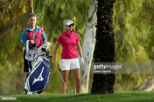Nicole Broch Larsen of Denmark plays her second shot on the par 5 18th hole during the third round of the 2017 Dubai Ladies Classic on the Majlis...