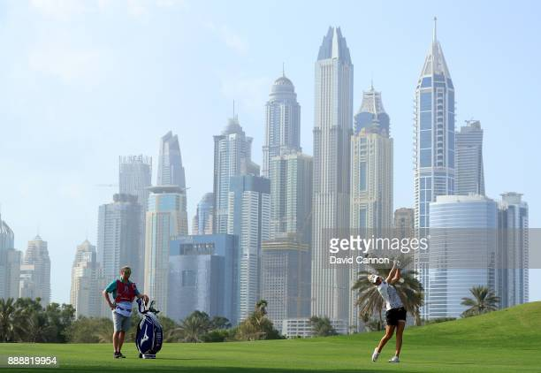 Nicole Broch Larsen of Denmark plays her second shot on the par 5 13th hole during the final day of the 2017 Dubai Ladies Classic on the Majlis...
