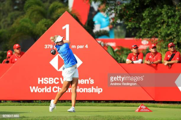 Nicole Broch Larsen of Denmark plays her shot from the first tee during round one of the HSBC Women's World Championship at Sentosa Golf Club on...
