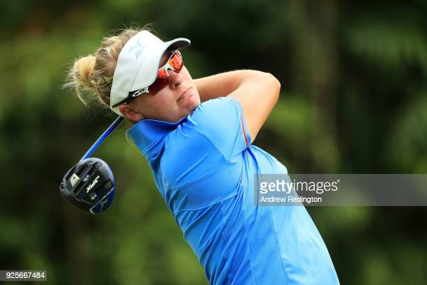 Nicole Broch Larsen of Denmark plays her shot from the ninth tee during round one of the HSBC Women's World Championship at Sentosa Golf Club on...