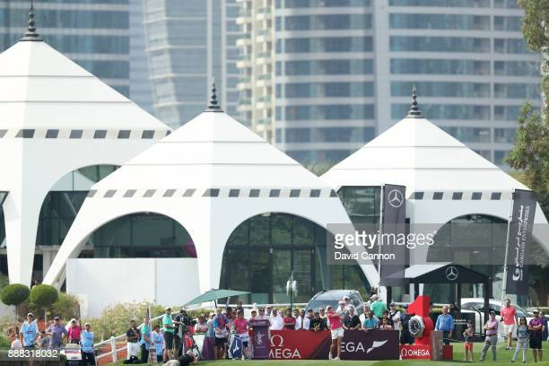 Nicole Broch Larsen of Denmark plays her tee shot on the par 4 first hole during the third round of the 2017 Dubai Ladies Classic on the Majlis...