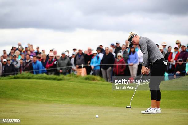 Nicole Broch Larsen of Denmark putts during day two of the New Zealand Women's Open at Windross Farm on September 29 2017 in Auckland New Zealand