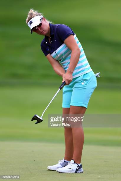 Nicole Broch Larsen of Denmark putts on the 3rd green during the final round of the Canadian Pacific Women's Open at the Ottawa Hunt Golf Club on...