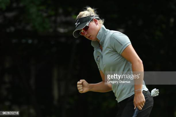 Nicole Broch Larsen of Denmark reacts to a birdie on the sixth green during the third round of the LPGA Volvik Championship on May 26 2018 at Travis...