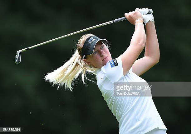 Nicole Broch Larsen of Denmark takes a shot from the 3rd fairway during the final round of the Ricoh Women's British Open at Woburn Golf Club on July...