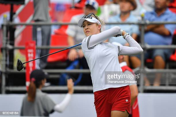 Nicole Broch Larsen of Denmark tees off at 1st hole during the Honda LPGA Thailand at Siam Country Club on February 23 2018 in Chonburi Thailand