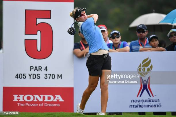 Nicole Broch Larsen of Denmark tees off at 5th hole during the Honda LPGA Thailand at Siam Country Club on February 25 2018 in Chonburi Thailand