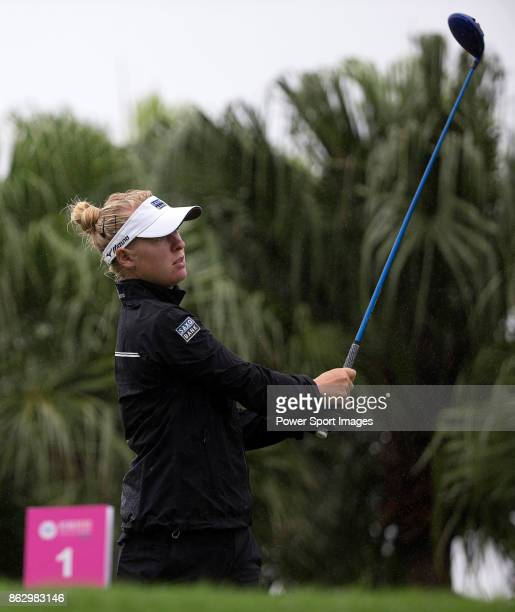 Nicole Broch Larsen of Denmark tees off on the first hole during day one of Swinging Skirts LPGA Taiwan Championship on October 19 2017 in Taipei...