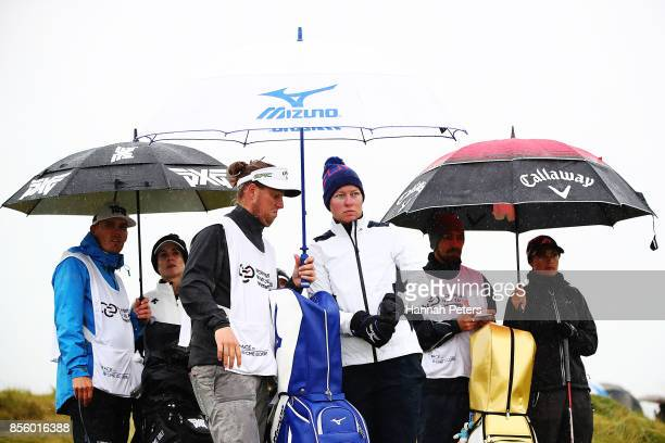 Nicole Broch Larsen of Denmark waits on the 2nd tee during day four of the New Zealand Women's Open at Windross Farm on October 1 2017 in Auckland...