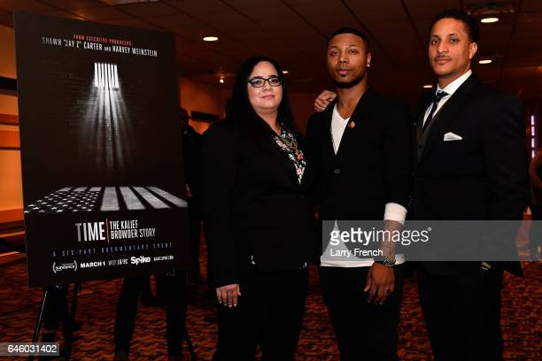 Nicole Browder Deion Browder and Akeem Browder attend the Viacom/Spike screening of 'TIME The Kalief Browder Story' at Landmark Theatre on February...