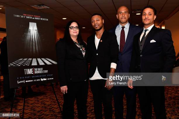 Nicole Browder Deion Browder US Seantor Cory Booker and Akeem Browder attend the Viacom/Spike screening of 'TIME The Kalief Browder Story' at...