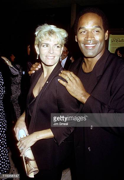Nicole Brown Simpson and OJ Simpson during Ishtar Premiere Los Angeles at Plitt Theater in Los Angeles California United States