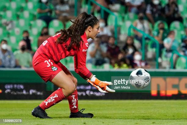 Nicole Buenfil, goalkeeper of Santos catches the ball during a match between Santos and Chivas as part of the Torneo Grita Mexico A21 Liga MX Femenil...