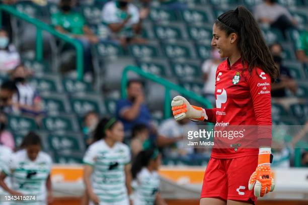 Nicole Buenfil, goalkeeper of Santos celebrates after the first goal of his team during a match between Santos and Monterrey as part of the Torneo...