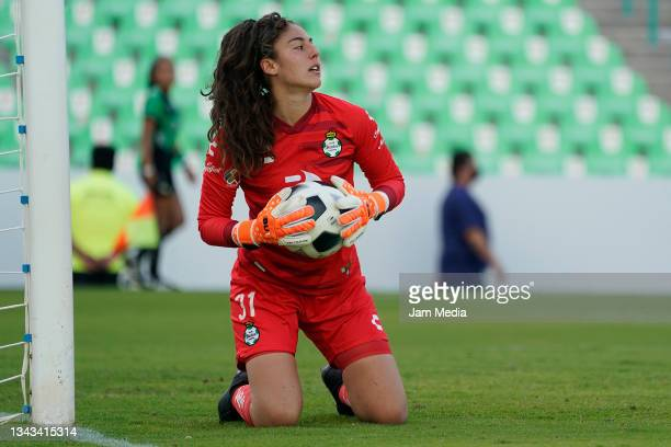 Nicole Buenfil, goalkeeper of Santos holds the ball during a match between Santos and Monterrey as part of the Torneo Grita Mexico A21 Liga MX...
