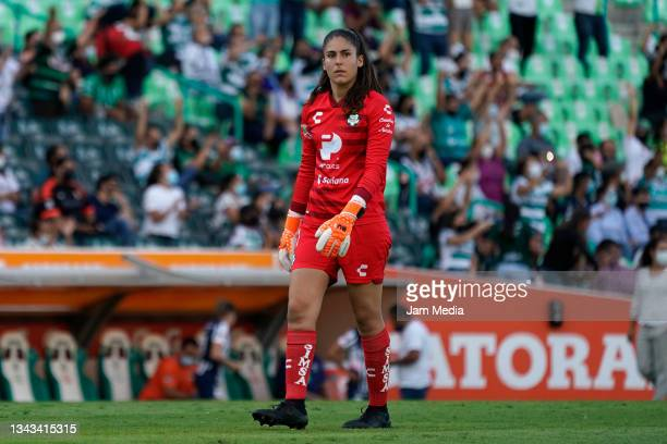 Nicole Buenfil, goalkeeper of Santos looks on during a match between Santos and Monterrey as part of the Torneo Grita Mexico A21 Liga MX Femenil at...