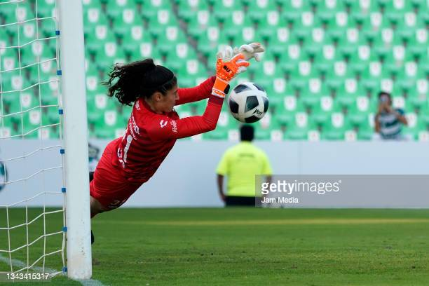 Nicole Buenfil, goalkeeper of Santos makes a save during a match between Santos and Monterrey as part of the Torneo Grita Mexico A21 Liga MX Femenil...