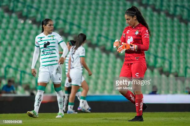 Nicole Buenfil, goalkeeper of Santos reacts during a match between Santos and Chivas as part of the Torneo Grita Mexico A21 Liga MX Femenil at Corona...
