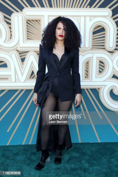 Nicole Bus attends the 2019 Soul Train Awards presented by BET at the Orleans Arena on November 17 2019 in Las Vegas Nevada