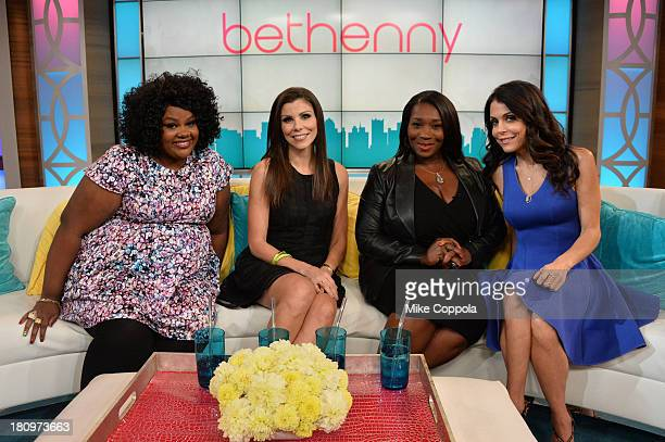 Nicole Byer Heather Dubrowm Bevy Smith and Bethenny Frankel on the set of 'Bethenny' with special guests NeNe Leakes Miss America Heather Dubrowm...