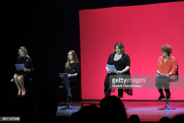 Nicole Calfan Alison Wheeler Charlotte Gaccio and Andrea Ferreol perform 'Les Monologues du Vagin' during 'Paroles Citoyennes 10 shows to wonder...