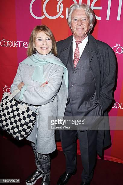 """Nicole Calfan and Georges Delletrez attend """"Les Coquettes"""" Paris Premiere At Grand Point Virgule on April 4, 2016 in Paris, France."""
