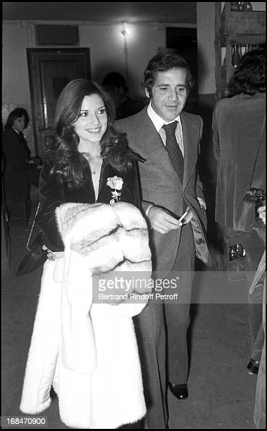 Nicole Calfan and Jean Yanne arrive at Charles Aznavour Concert At The Olympia In Paris 1972