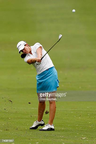Nicole Castrale makes a shot from the fairway on the 9th hole during the second round of the SemGroup Championship presented by John Q Hammons May 5...