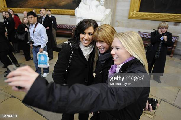 Nicole Castrale Paula Creamer and Morgan Pressel of the 2009 United States Solheim Team pose for photo in the Capital during visit to celebrate team...