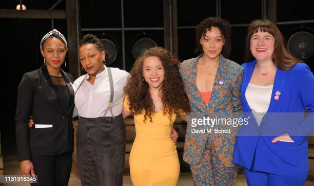 Nicole Charles Clare Perkins Saffron Coomber Adelle Leonce and Morgan Lloyd Malcolm attend the press night after party for Emilia at The Vaudeville...