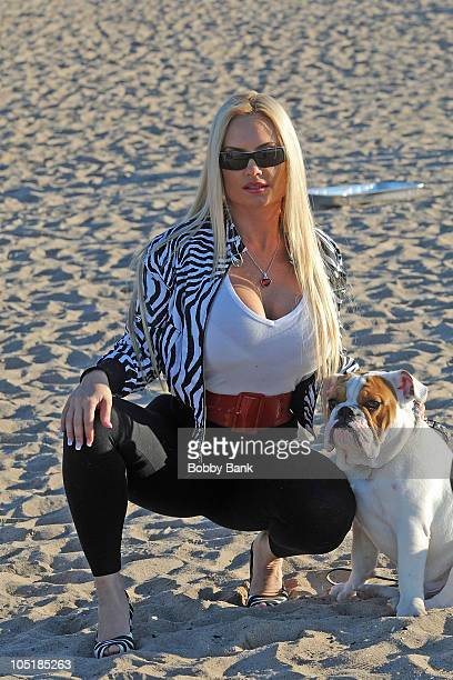 Nicole Coco Austin and her bulldog Spartacus visiting the set of Goat on October 10 2010 in the Brooklyn borough of New York City