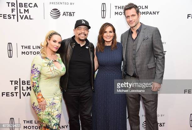 NIcole Coco Austin rapper/actor IceT actress/Film Producer Mariska Hargitay and her husband/actor Peter Hermann attend the HBO Documentary screening...