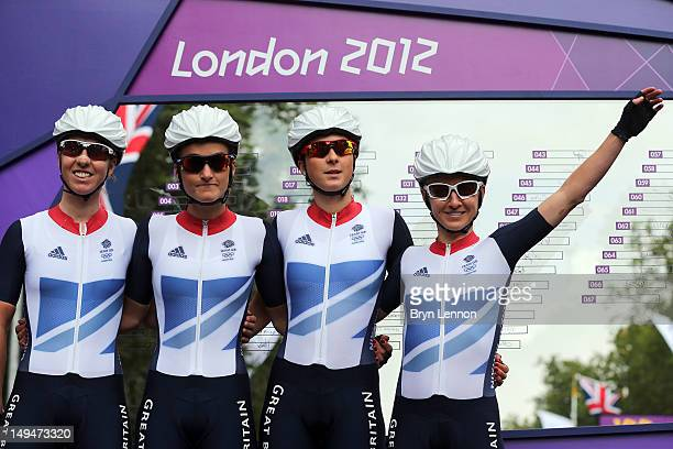 Nicole Cooke Elizabeth Armitstead Lucy Martin and Emma Pooley of Great Britain pose ahead of the Women's Road Race Road Cycling on day two of the...