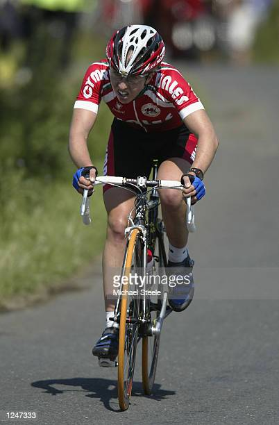 Nicole Cooke of Wales in action during the Women's Road Race Final at Rivington Park during the 2002 Commonwealth Games in Manchester England on...