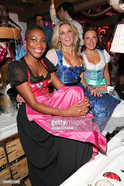 Nicole Coste, mother of Albert of Monaco's son Alexandre, and Natalie Lefevre and Simone Ballack during the Oktoberfest 2015 at Kaeferschaenke /...