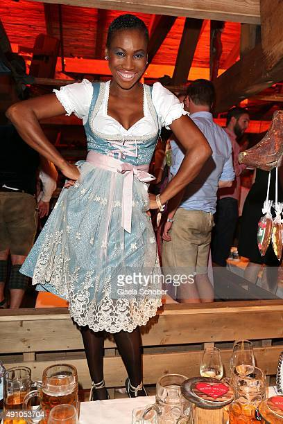 Nicole Coste mother of Albert of Monaco's son Alexandre wearing a dirndl by Joana Danciu during the Oktoberfest 2015 at Kaeferschaenke at...