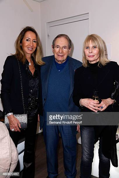 Nicole Coullier Robert Hossein and Candice Patou attend in Backstage the Laurent Gerra Show at Palais des Sports on December 2326 and 27 2014 in...
