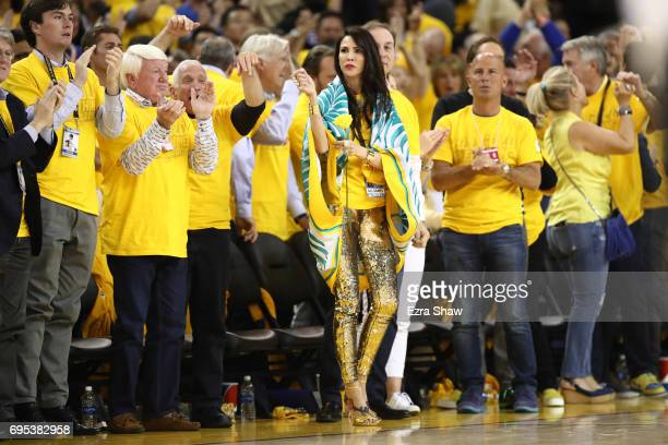 Nicole Curran wife of Golden State Warriors owner Joe Lacob watches the game during the second half in Game 5 of the 2017 NBA Finals between the...