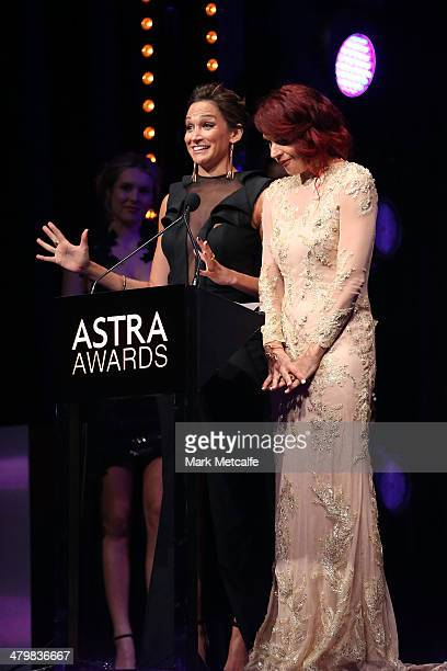 Nicole da Silva and Danielle Cormack from television show Wentworth celebrate after winning Most Outstanding Australian Drama during the 12th ASTRA...