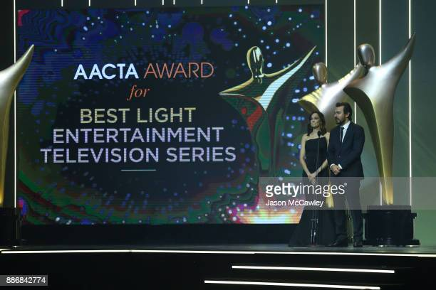 Nicole da Silva and Ewen Leslie present the AACTA Award for Best Light Entertainment Television Series during the 7th AACTA Awards Presented by...