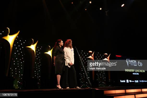 Nicole Da Silva and Kate Box present the AACTA Award for Best Editing during the 2018 AACTA Awards Presented by Foxtel | Industry Luncheon at The...