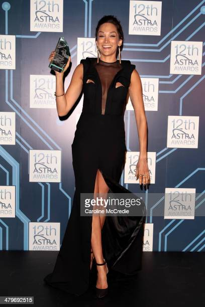 Nicole da Silva winner of Most Outstanding Performance By A Female Actress poses in the awards room during the 12th ASTRA Awards at Carriageworks on...